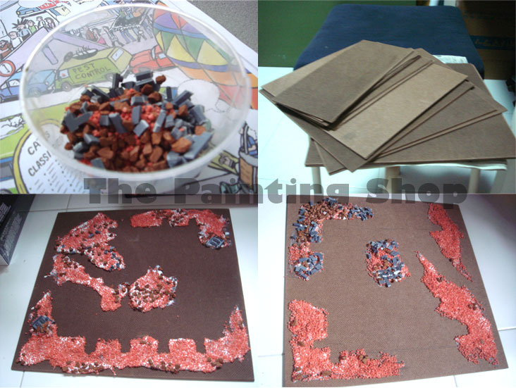 Cities of Death - Base board, sand, stones, plastic mixture with glue